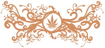Marijuana leaf on an shield with floral fantasy isolated Stock Image