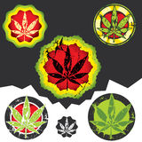Marijuana leaf silhouette symbol stamps illustration Royalty Free Stock Image