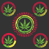 Marijuana leaf silhouette symbol stamps illustration Stock Images