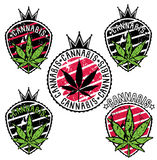 Marijuana leaf silhouette symbol stamps illustration Royalty Free Stock Photos