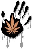 Marijuana leaf on stylized hand Royalty Free Stock Photography