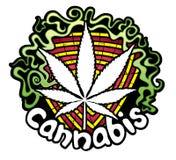 Marijuana leaf symbol design sticker Royalty Free Stock Photography