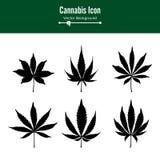 Marijuana Leaf Vector. Green Hemp Cannabis Sativa or Cannabis Indica Marijuana Leaf Isolated On White Background. Medical Plant royalty free illustration