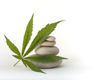 Marijuana leaf zen stones. Marijuana leaf leaning on a pile of stones isolated on white royalty free stock photos
