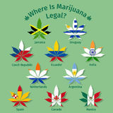 Marijuana leaves with the international flags Royalty Free Stock Image