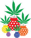Marijuana Leaves in Polka Dotted Vases Royalty Free Stock Photos