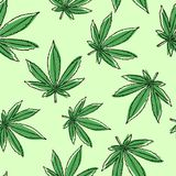 Marijuana leaves seamless pattern. Cannabis background. stock illustration