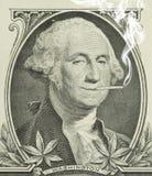 Marijuana legalizada George Washington con la junta Foto de archivo libre de regalías