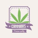 Marijuana médica Logotipo do cannabis ou molde do crachá com folha Imagens de Stock