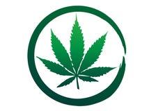 Marijuana médica, logotipo verde de la hoja del cáñamo Acontecimientos europeos 2018, negocio Logo Concept del cáñamo Ejemplo o b stock de ilustración