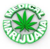Marijuana médica - palavras e ícone da folha Foto de Stock