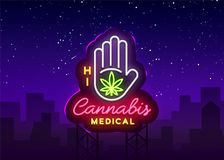 Marijuana medical neon sign and logo, graphic template in modern trend style. Cannabis is an organic hemp. Green farm. Vector Illustration. Billboard vector illustration