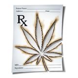 Marijuana Medical Prescription. As cannabis prescribed by a doctor as an rx note with a leaf burnt into the paper as a medicine symbol for legalized weed as a Stock Photos
