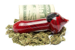 Marijuana and Money Stock Photo