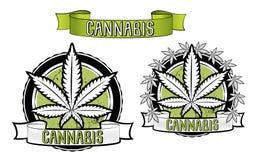 Marijuana- och ganjabladdesignemblem  Arkivfoton