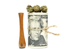 Marijuana och pengar Arkivbilder