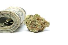 Marijuana och pengar Arkivbild