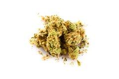 Marijuana på vit bakgrund Arkivbild
