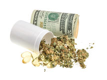 Marijuana and pills isolated on white background Stock Photography