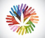 Marijuana plant over diversity hands circle Stock Image