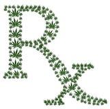 Marijuana prescription. A green prescription shaped symbol made from marijuana leaves on a white background, Marijuana prescription Royalty Free Stock Photography