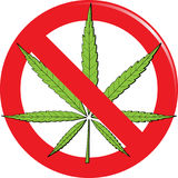 Marijuana prohibit sign Royalty Free Stock Photo