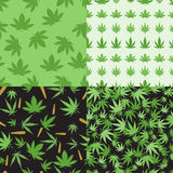 Marijuana seamless pattern vector. Green marijuana background vector illustration. Seamless pattern leaf herb narcotic textile. Grass medical agriculture Stock Photography