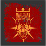 Marijuana Skull on grunge background. Vector for prints and tshirts Stock Images