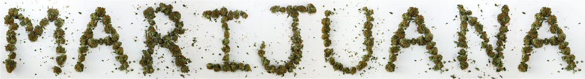 Marijuana soletrada com marijuana Fotografia de Stock Royalty Free