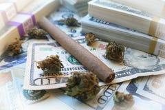 Marijuana som är rättfram med knoppen & pengar med den högkvalitativa vita ramen Arkivfoto