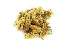 Marijuana som isoleras på vita bakgrundsdroger Arkivfoto