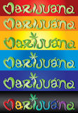 Marijuana stylized hand written text with green leaf symbol  illustration Stock Images