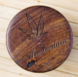 Marijuana symbol woodcarving Royalty Free Stock Photos