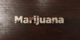A marijuana - título de madeira sujo no bordo - 3D rendeu a imagem conservada em estoque livre dos direitos Imagens de Stock Royalty Free