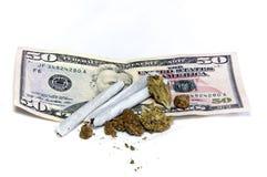 Marijuana on top of money Royalty Free Stock Photo