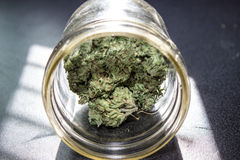 Marijuana in un barattolo Fotografie Stock