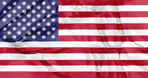 Marijuana in USA Flag Stock Photo