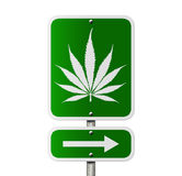 Marijuana this way. A sign to show the way to get marijuana, green sign with a marijuana leaf stock illustration