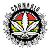 Marijuana and weed leaf logo design. Marijuana and weed leaf logo stamp design Royalty Free Stock Images