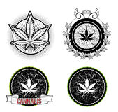 Marijuana and weed symbol badges Stock Photo