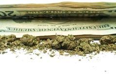Marijuana y dinero Imágenes de archivo libres de regalías