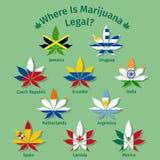 Marijuanasidor med de internationella flaggorna stock illustrationer