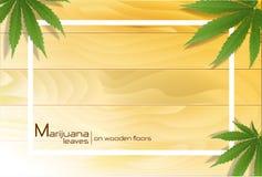 Marijuanaväxt och cannabis på trägolv stock illustrationer