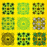 Marijuna Cannabis design stamp  illustration Stock Images