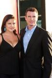 Marika Dominczyk, Scott Foley- arrives at the. LOS ANGELES - MAY 30:  Marika Dominczyk, Scott Foley- arrives at the True Blood 5th Season Premiere at Cinerama Royalty Free Stock Photos