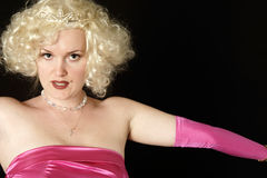 Marilyn look alike. On black background stock photo
