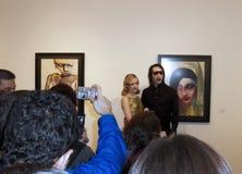 Marilyn Manson wystawę sztuki obrazy stock
