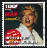 Marilyn Monroe. IVORY COAST - CIRCA 2002: stamp printed by Ivory Coast, shows Marilyn Monroe, circa 2002 stock photography