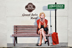 Marilyn Monroe check in grand swiss hotel Royalty Free Stock Images