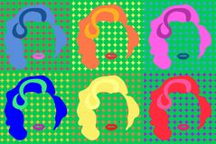Marilyn Monroe Colored Vector Illustration Pop Art Style Andy Warhol Images stock